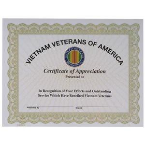 Amazoncom vietnam veterans of america vva certificate of appreciation for Veterans certificate of appreciation