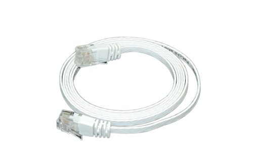Optimus Electric 5 Feet Cat6 Ultra Flat Cable With Smooth Jacket - White