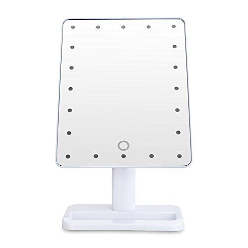 Wundeschne-20-LEDs-Kosmetikspiegel-Standspiegel-Schminkspiegel-mit-Beleuchtung-Makeup-Spiegel-wei