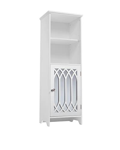 Elegant Home Chateau Calais Linen Tower with Mirrored Door & Open Shelves, White