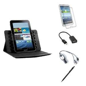 Callmate Suction Cup Cover For Samsung Galaxy Tab 3 8.0 T310/T311/T315 + Stylus Pen + 2A Dual USB Car Charger + Micro USB OTG Cable + Screen Guard - Black