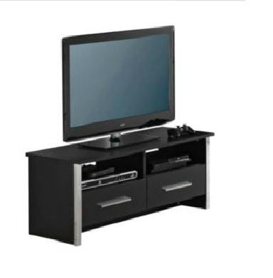 Black TV Cabinet Entertainment Unit with Chrome Trim 2 Drawers