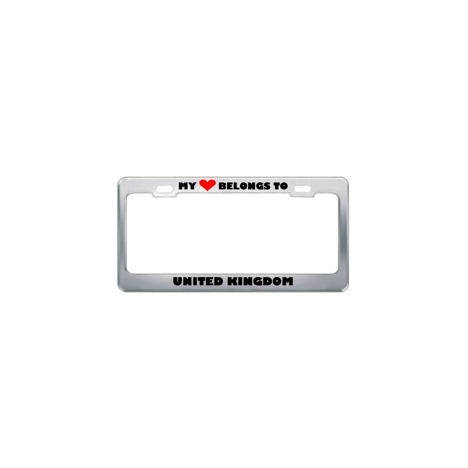 My Heart Belongs To United Kingdom Country Flag Metal License Plate