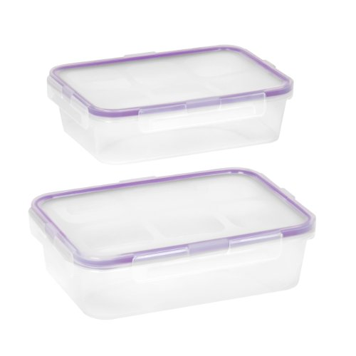 Snapware 1098447 2-Pack 4.5-Cup Airtight Rectangle Container With Purple Seal front-167847
