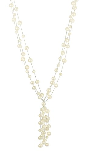 3 Row White Freshwater Pearl on Silver Tone Thread with Tassel Necklace and Sterling Silver Clasp 18