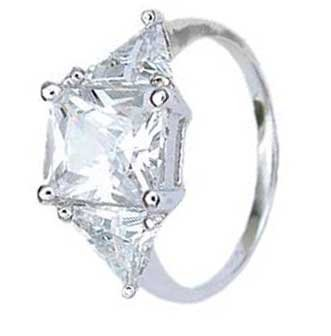 Sterling Silver Solitaire Engagement Ring With Princess Cut Cubic Zirconia in Four Prongs With Two Side stones