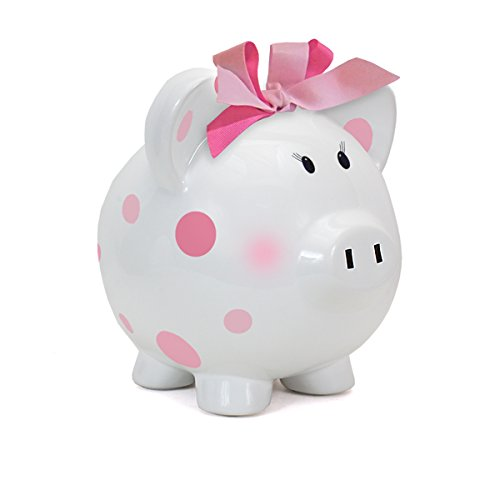 Child to Cherish Large Pig White with Polka Dot Toy Bank, Pink - 1
