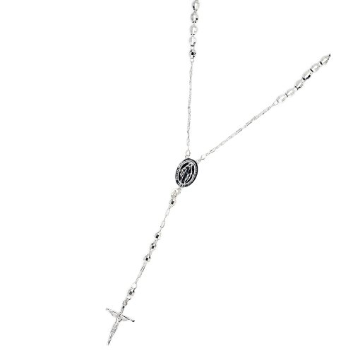 Sterling Silver 5mm Crucifix Disco Ball Rosary Necklace 26 Inches