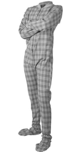 Gray/White Plaid Flannel Adult Unisex Footed Pajamas With Drop Seat (Xl) front-793133