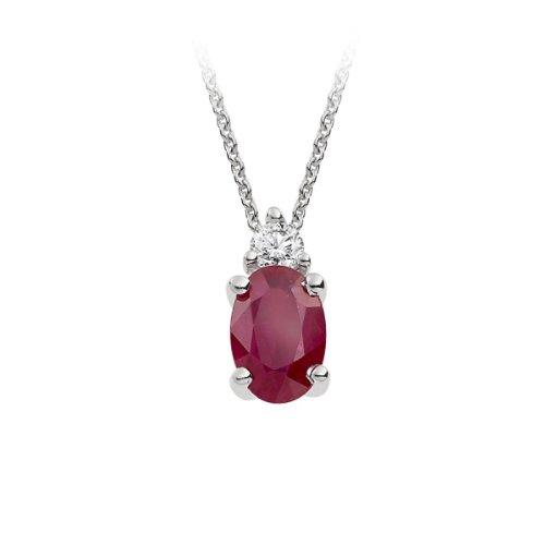 Diamond and Ruby Pendant in Platinum