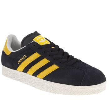 adidas gazelle sneakers in navy blue and yellow