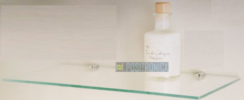 Bathroom Floating Glass Shelf Clear/Black W40cm x D20cm (Clear)