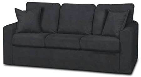 Laney Mission Black Faux Leather Couch