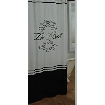 Amazon.com - Toulouse Black and White Fabric Shower Curtain Le Bain -