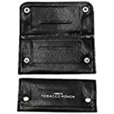 Soft Black Leather Tobacco Pouch lined paper slot rolling pocket rizla smooking