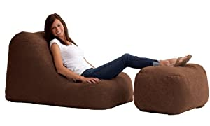 Comfort Research Wedge and Ottoman in Comfort Suede, Espresso