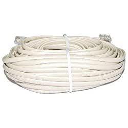 4 Conductor Telephone Line Cord - Ivory / 50' : TE156