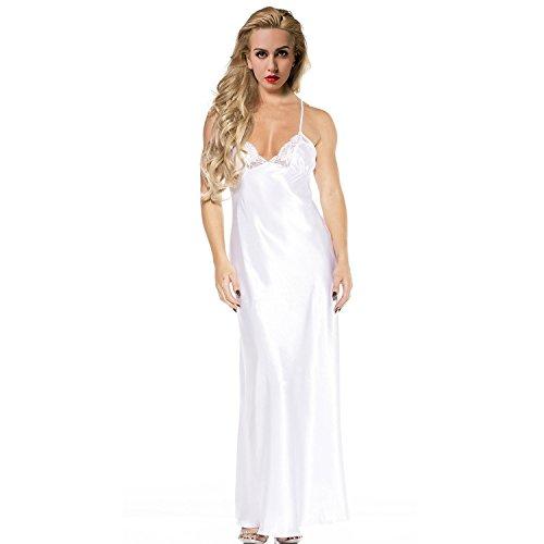 ETAOLINE Women's White Lace Trimmed Satin Charmeuse Full Length Long Gown��