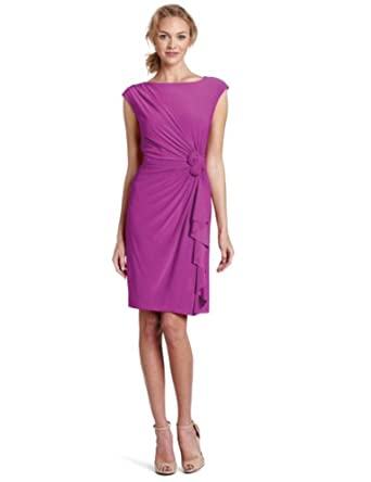 Jones New York Women's Matte Jersey Rosette Dress, African Violet, 6