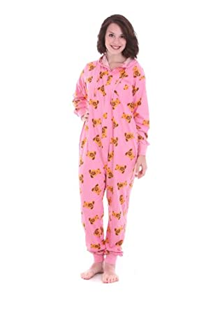 """Funzee Adult Onesie Pajama Suit, One piece non Footed Pajamas - """"Cute"""" Design Is Teddy Bears on Pink Sizes XS-L (Petite (XS))"""