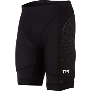 TYR Sport Men's Sport Competitor 9-Inch Tri Compression Shorts (Black, Medium)