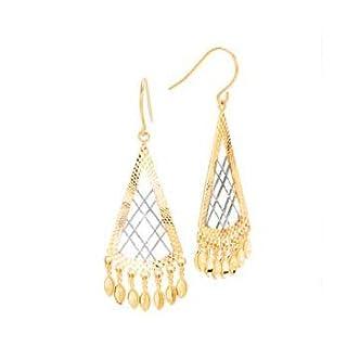 14K Two Tone Gold ''Diamond Cut'' Chandelier Triangular Earrings