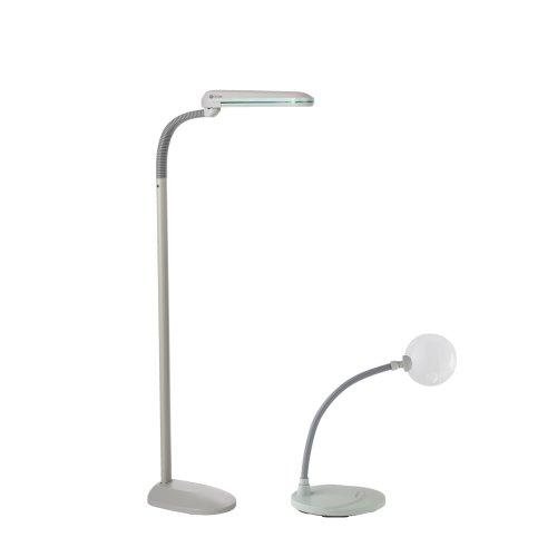 ott lite olfmagkit 18 watt floor lamp with 5x freestanding magnifier. Black Bedroom Furniture Sets. Home Design Ideas