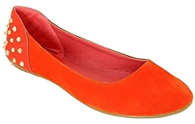 Sonia-5 ORANGE Spiked Studded Back Low Ballet Flats (10)