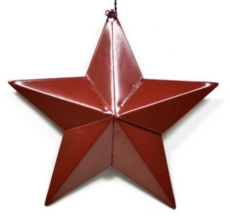 Primitive Red Painted Dimensional Barn Star Ornaments on Wire Hanger- Package of 4