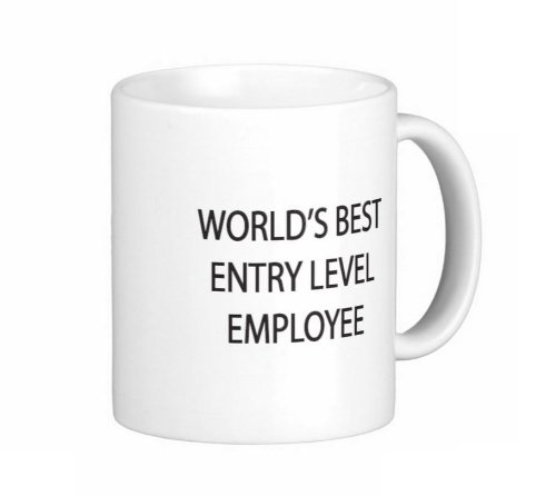 Pair Of 15 Ounce World'S Best Entry Level Employee Coffee Mugs - Dishwasher And Microwave Safe, Funny Office Gag Gift