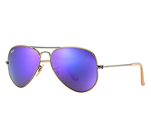 Ray Ban RB3025 167/3M 58 Brushed Bronze/Violet Mirror Large Aviator Bundle-2 Items