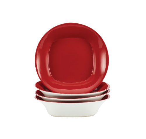 Rachael Ray Round And Square Dinnerware 4-Piece Soup And Pasta Bowl Set, Red