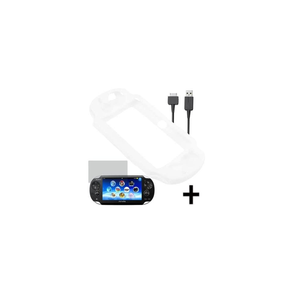 BW Silicone Sleeve Gel Cover Skin Case for Sony Playstation PS Vita + LCD + Charging Data Cable Clear White