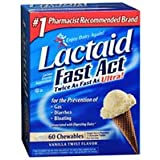 Lactaid Lactose Enzyme Supplement, Chewables, Vanilla Twist Flavor 60 ct (Pack of 3)