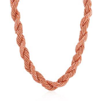 White Gold Rhodium Bonded to a Lead Free Alloy Base Metal 20 Inch Orange Acrylic Bead Twisting Necklace in Silvertone