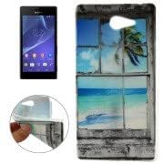 The Beach outside The Window Pattern Transparent Edge TPU Protective Case for Sony Xperia M2 / S50h