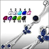 Fancy Jeweled Dangling Belly Ring Body Jewelry