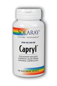 Solaray Capryl Sodium and Resin-Free Capsules, 360mg, 100 Count