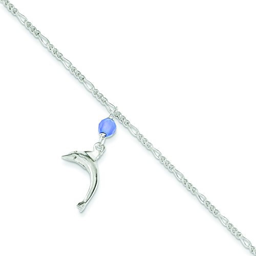 Sterling Silver Blue Quartz Bead & Dangling Dolphin Figaro Anklet: Length 10 in