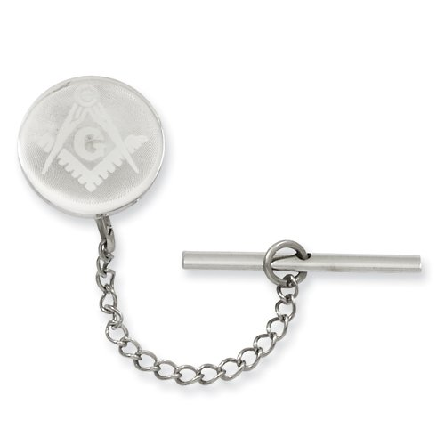 Rhodium-plated with Chain Masonic Tie Tack Perfect Christmas Gift Idea