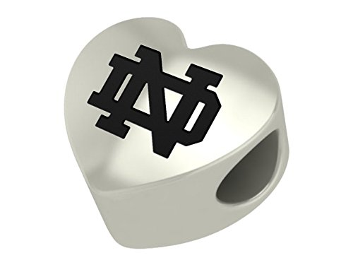 Notre Dame Fighting Irish Sterling Silver Heart Bead Fits Most European Style Charm Bracelets