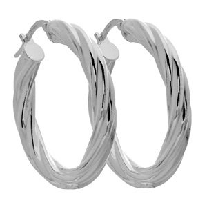 Italian Sterling Silver Small Twist Hoop Earrings
