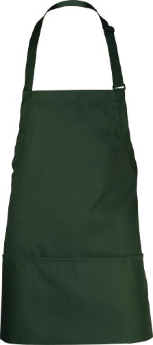Chef Works F10 3-Pocket Bib Apron, 24-Inch Length by 28-Inch Width, Hunter Green