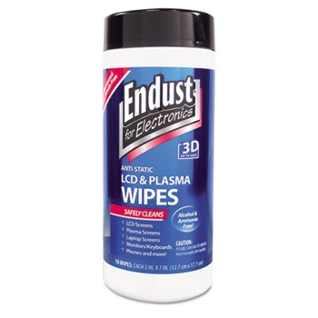Antistatic Cleaning Wipes, Premoistened, 70/Canister