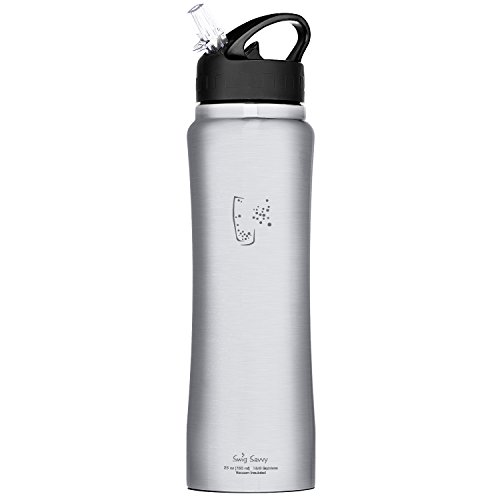 Sports Water Bottle Long Straw: Swig Savvy Stainless Steel Insulated Leak Proof Flip Top