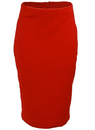 Red Stretchy 1950s Rockabilly High Waist Pinup Pencil Wiggle Women's Skirt - X-Large Image