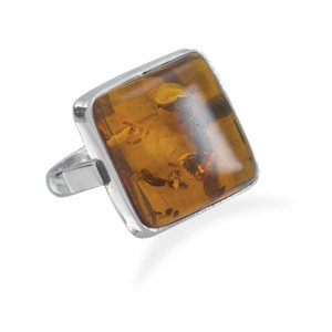Sterling Silver Square Baltic Amber Ring / Size 7
