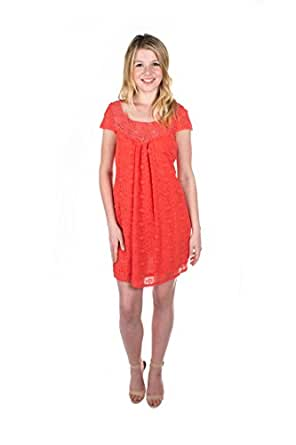 Tulle Clothing Short Sleeve Tie Dress - Coral Fizz - XS