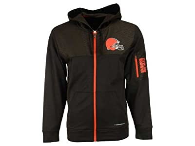 Majestic Cleveland Browns Adult Size Small NFL Authentic Full Zip ThermaBASE Hoodie Hooded Jacket - Brown & Orange