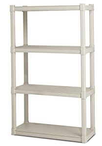 Sterilite 01648501  4-Shelf Shelving Unit, Platinum